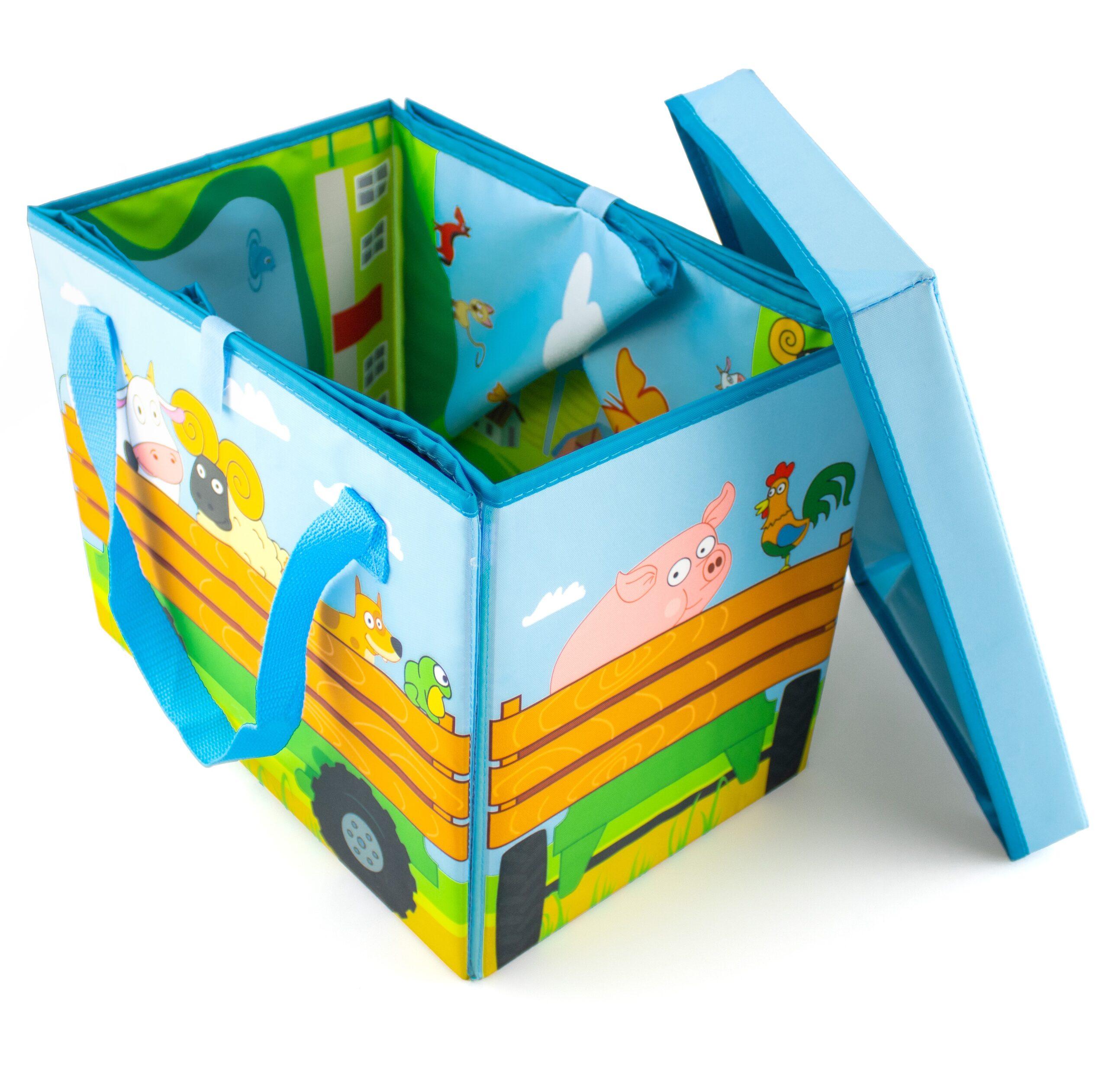 Контейнер для игрушек раскладной с игровым матом «Синий Трактор-прицеп»